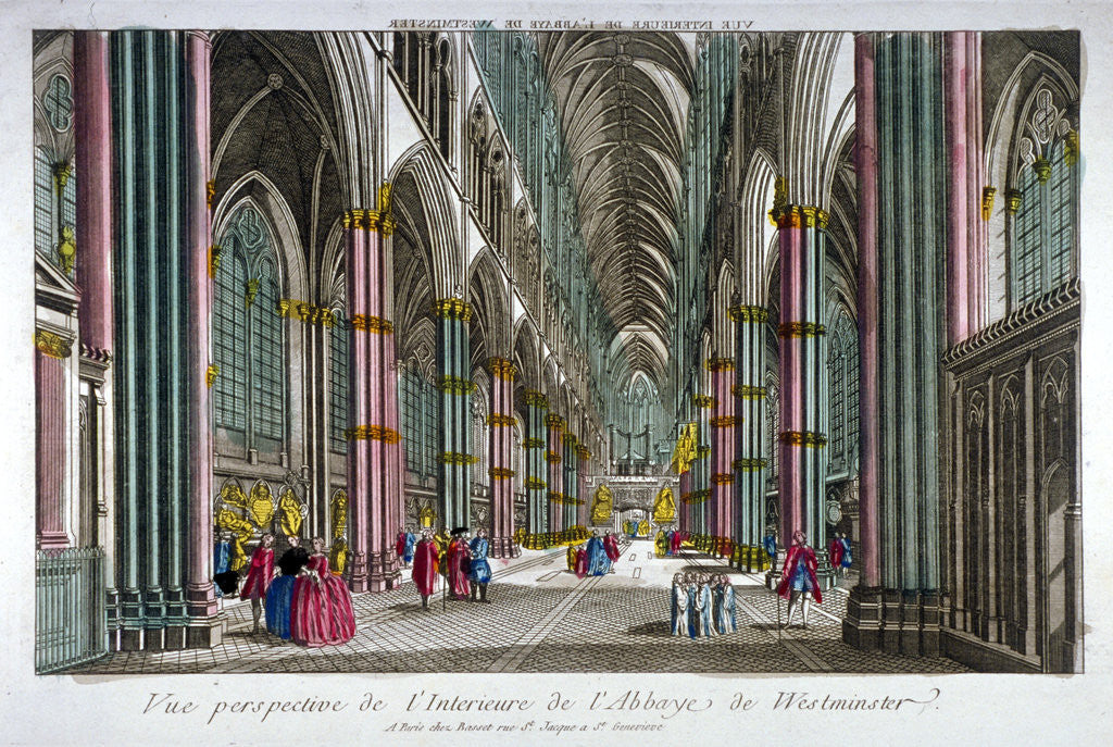 Detail of Interior view of Westminster Abbey, London by Anonymous