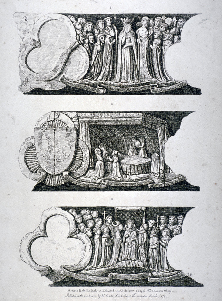 Detail of Three bas-reliefs in Edward the Confessor's Chapel, Westminster Abbey, London by Anonymous