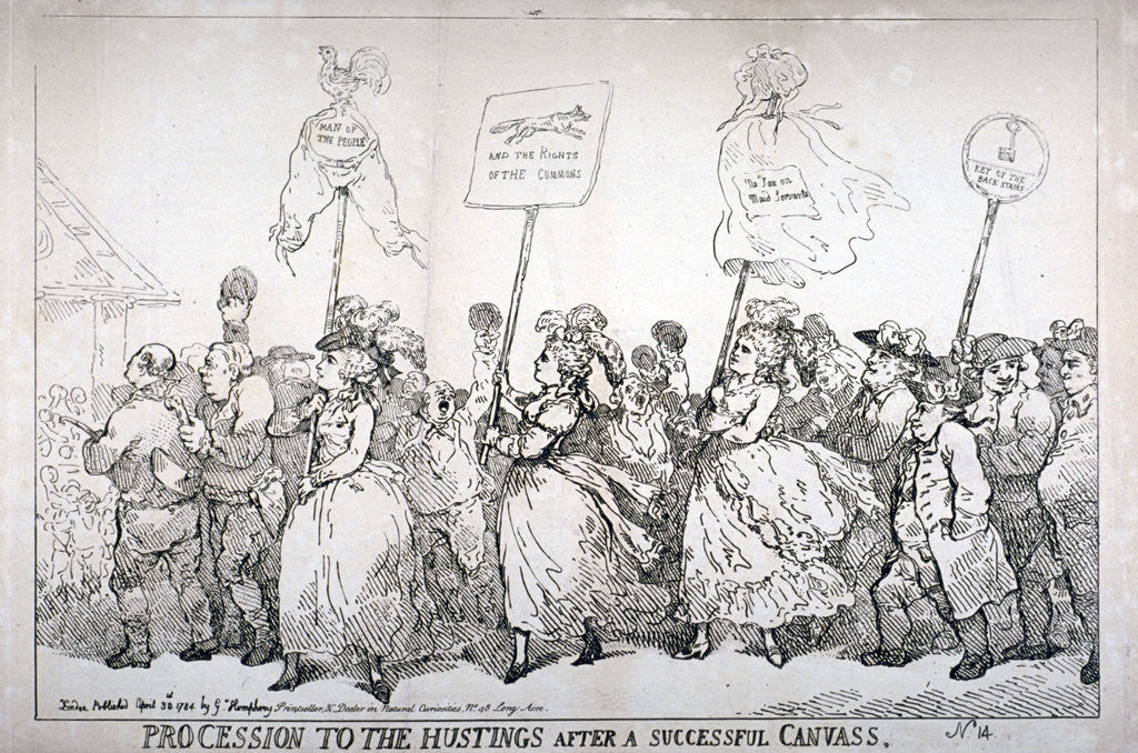 Detail of Procession to the hustings after a successful canvass, no:14 by Thomas Rowlandson