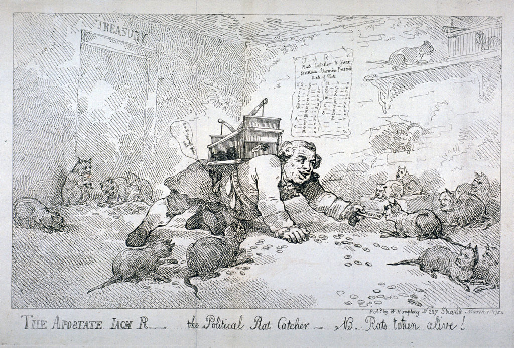 Detail of The apostate Jack R - the political rat catcher - NB. Rats taken alive! by Thomas Rowlandson