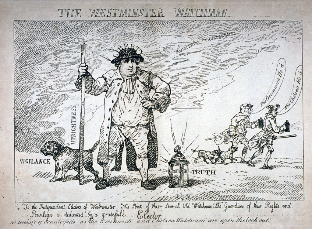 Detail of The Westminster Watchman by Thomas Rowlandson