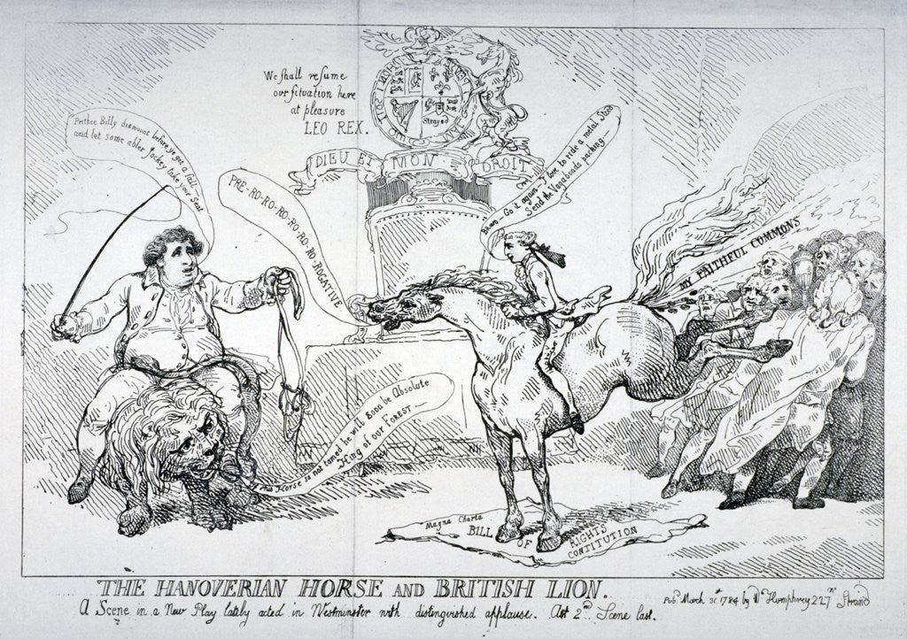 Detail of The Hanoverian horse and British lion by Thomas Rowlandson