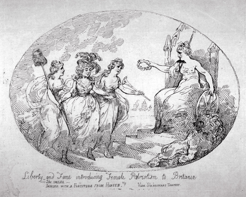 Detail of Liberty and Fame introducing Female Patriotism to Britania by Thomas Rowlandson