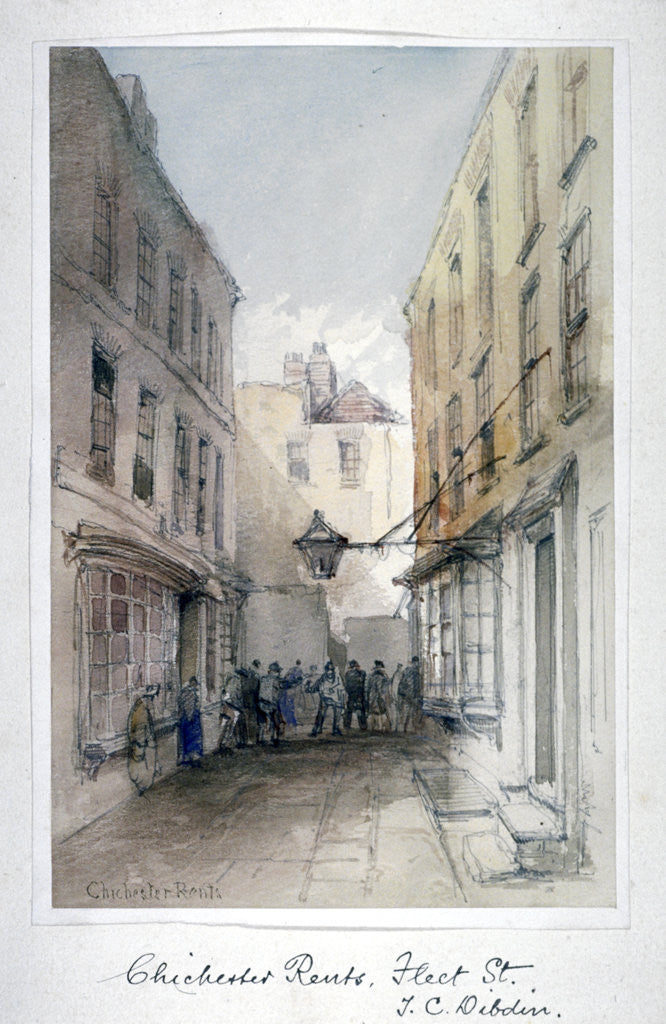 Detail of View in Chichester Rents, Fleet Street, City of London by Thomas Colman Dibdin