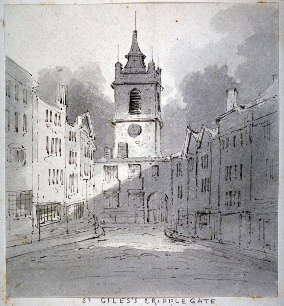 Detail of Church of St Giles without Cripplegate from Fore Street, City of London by John Claude Nattes
