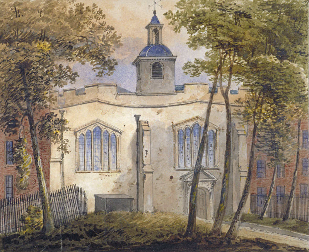 Detail of West view of the Church of St Helen, Bishopsgate, City of London by William Pearson