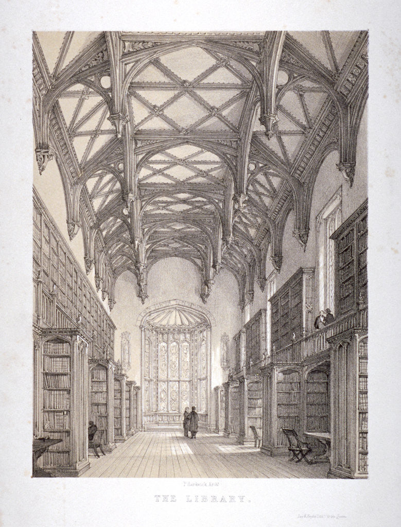 Detail of Interior view of the library, Lincoln's Inn, Holborn, London by Day & Haghe