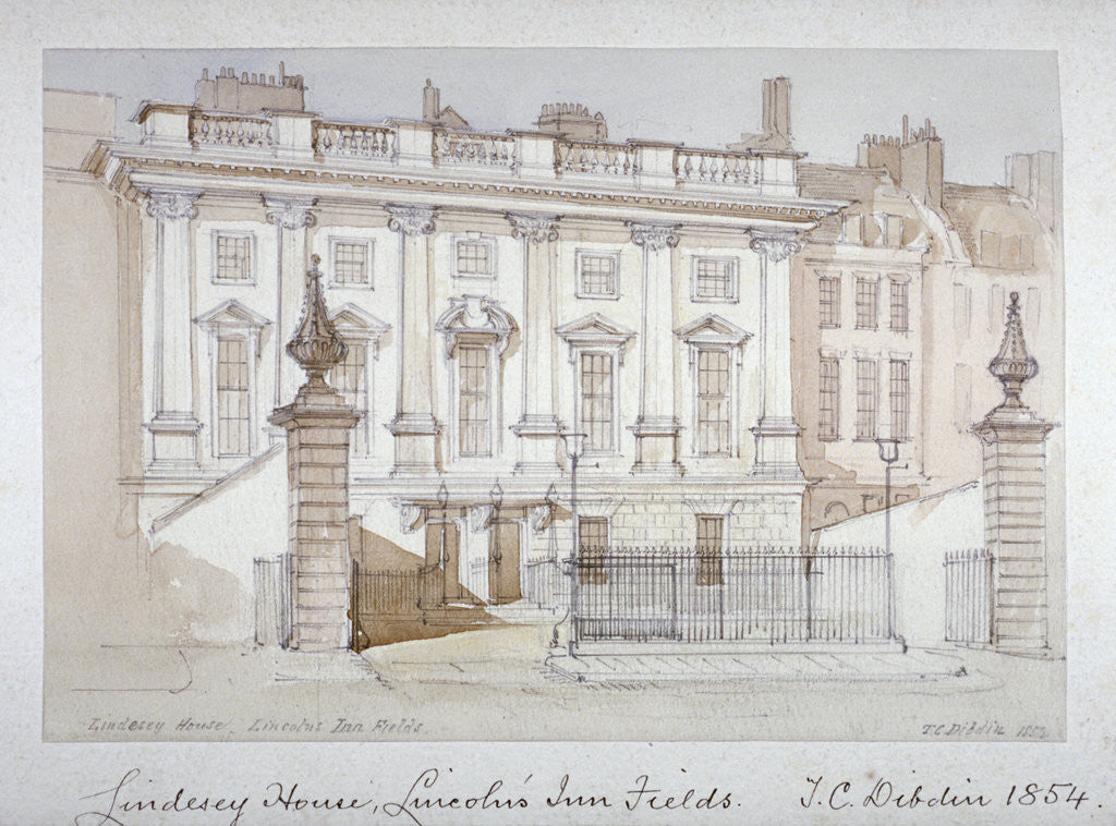 Detail of View of Lindsey House, Lincoln's Inn Fields, Holborn, London by