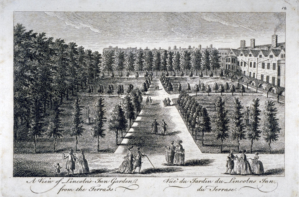 Detail of View of Lincoln's Inn Garden from the terrace, Holborn, London by