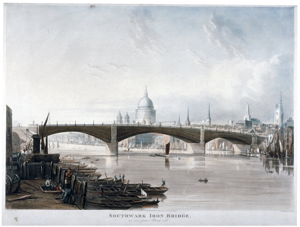 Detail of View of 'Southwark Iron Bridge' from Bankside, London by Thomas Sutherland