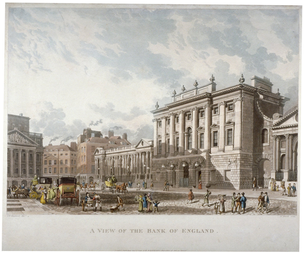 Detail of The Bank of England, City of London by Daniel Havell