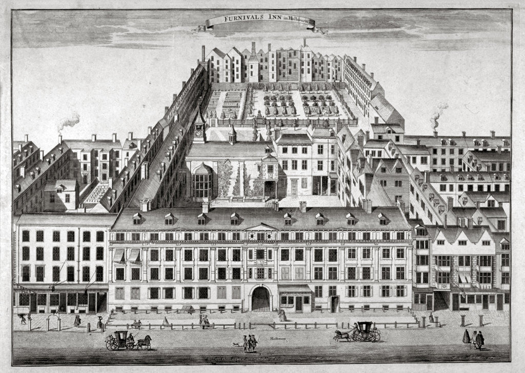 Detail of Bird's-eye view of Furnival's Inn, Holborn, City of London by Sutton Nicholls