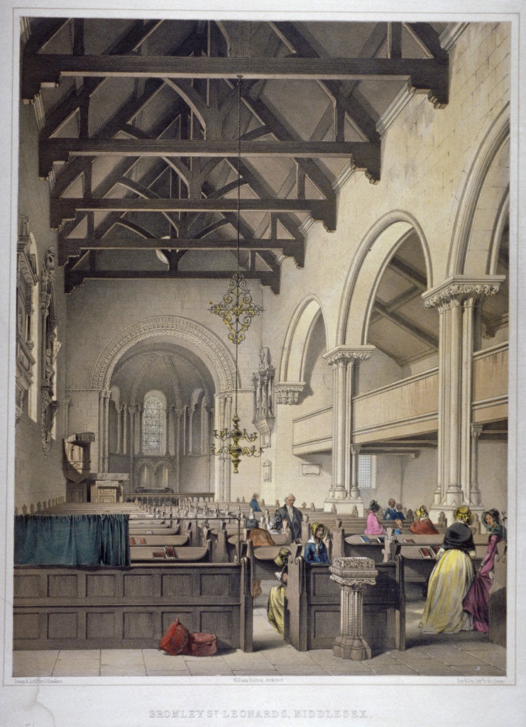 Detail of Interior view of St Leonard's Church, Bromley-by-Bow, London by