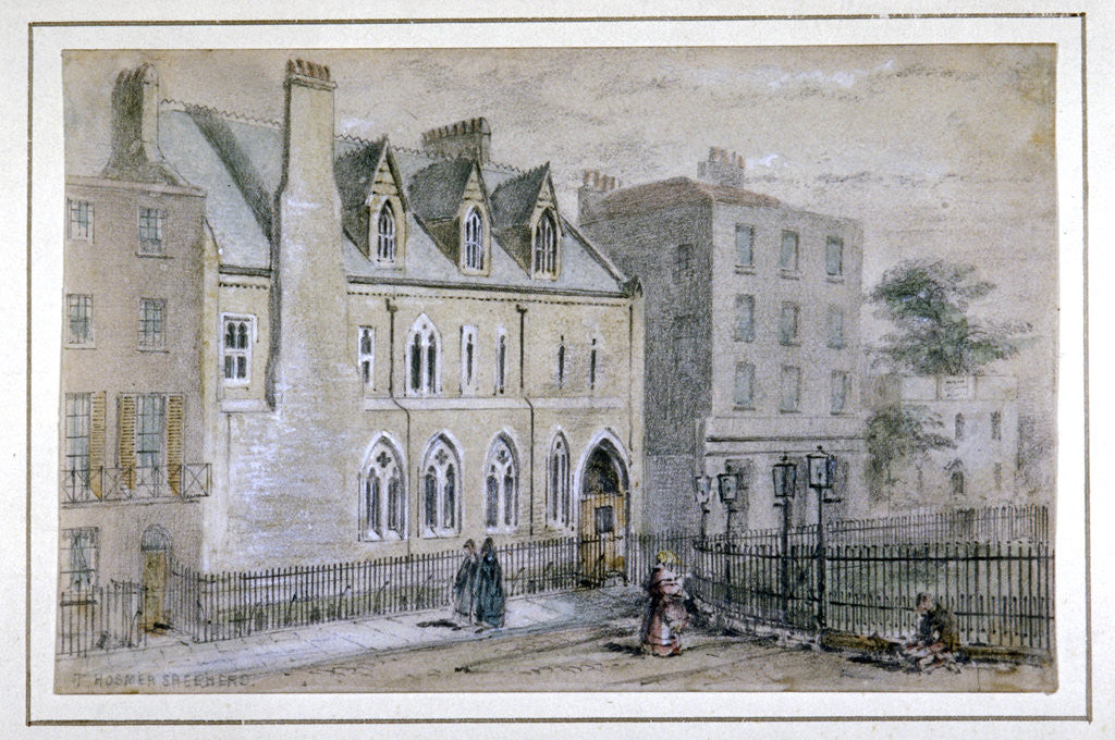 Detail of View of a nunnery in Osnaburgh Street, London by