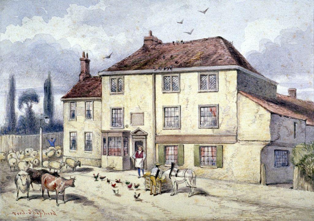 Detail of View of the old Pied Bull Inn, Islington, London by Frederick Napoleon Shepherd