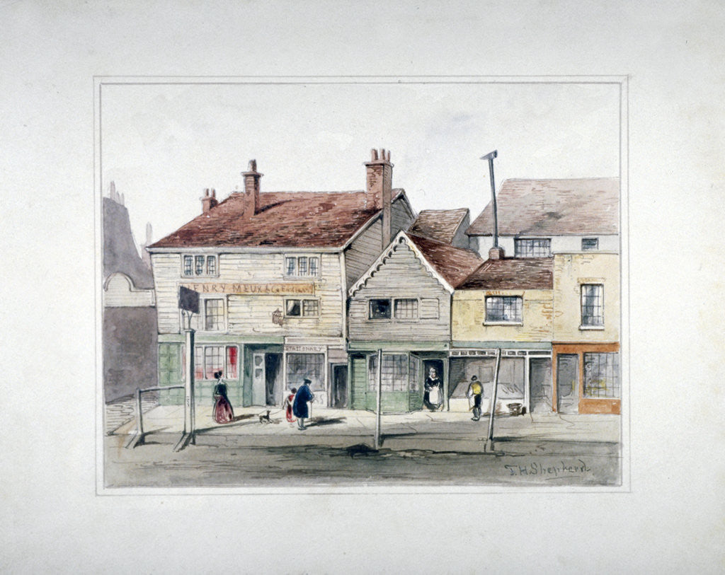 Detail of The Hare and Hounds Inn and shopfronts on Upper Street, Islington, London by Thomas Hosmer Shepherd