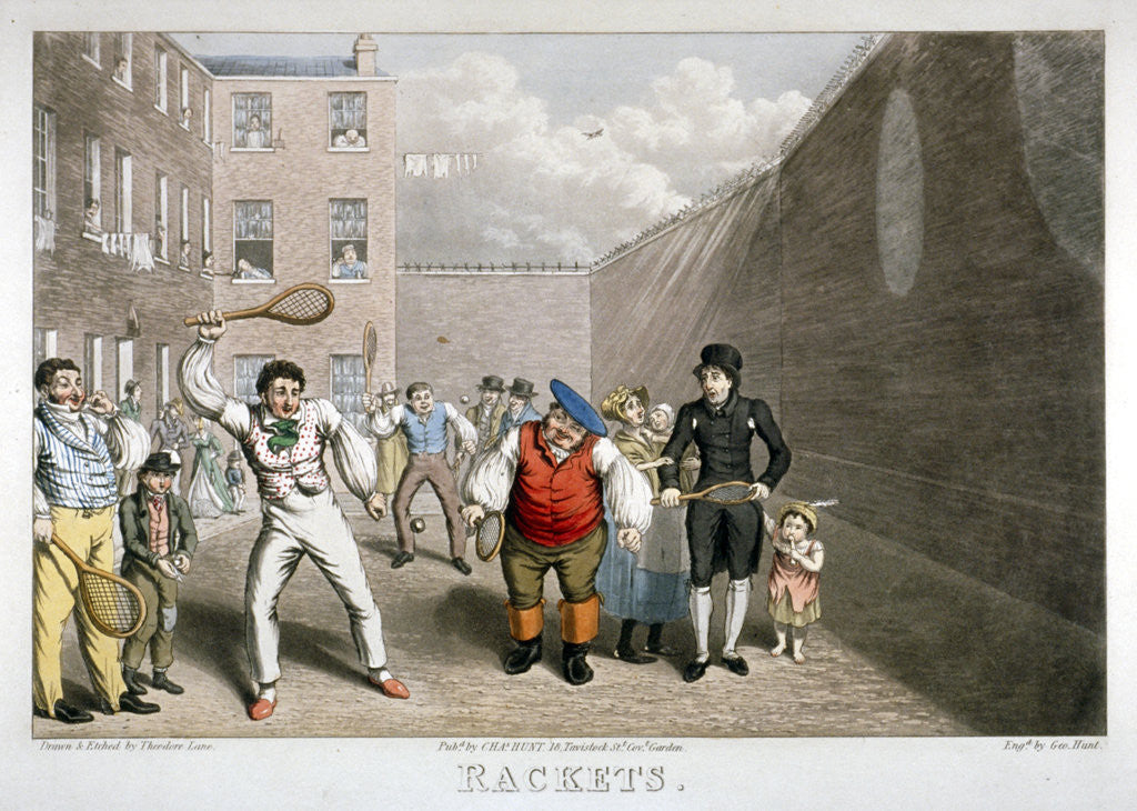 Detail of Playing rackets, Fleet Prison, London by Theodore Lane