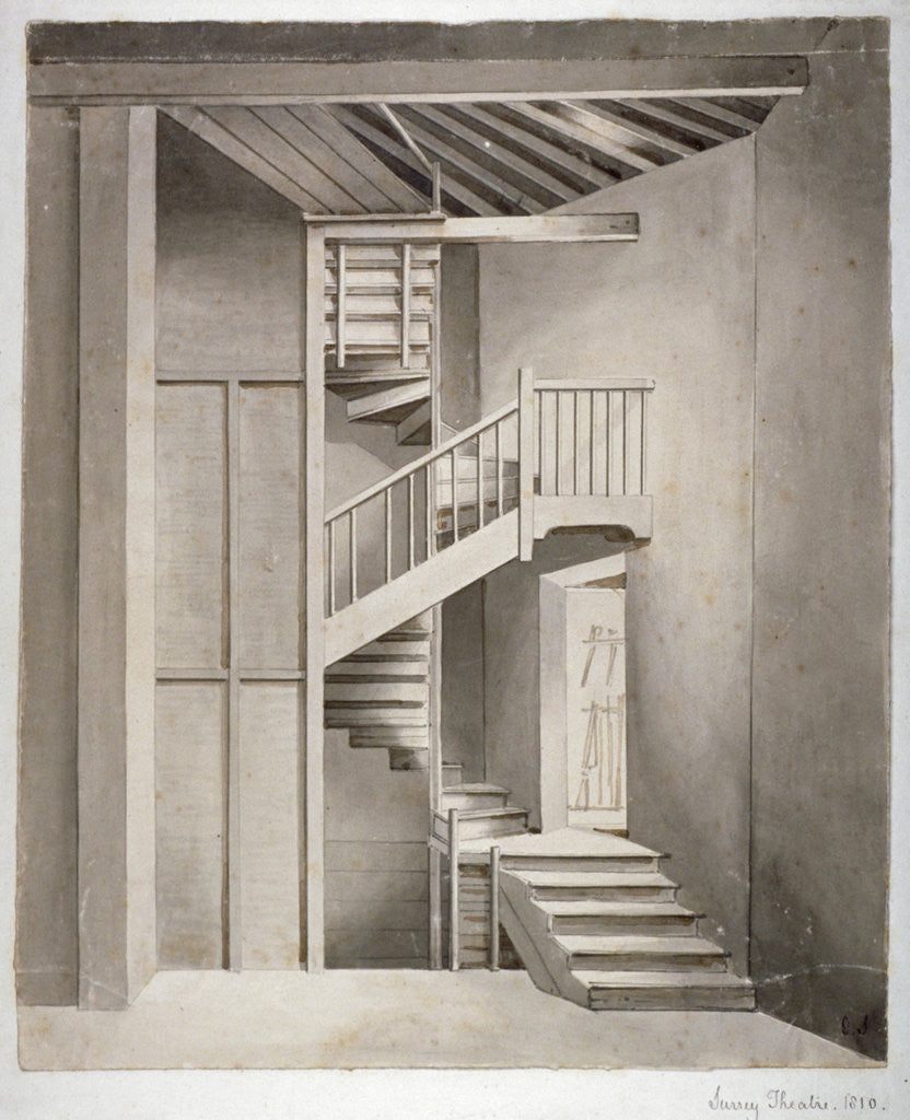Detail of Interior view of the staircase in Surrey Theatre on Blackfriars Road, Southwark, London by Clarkson Stanfield