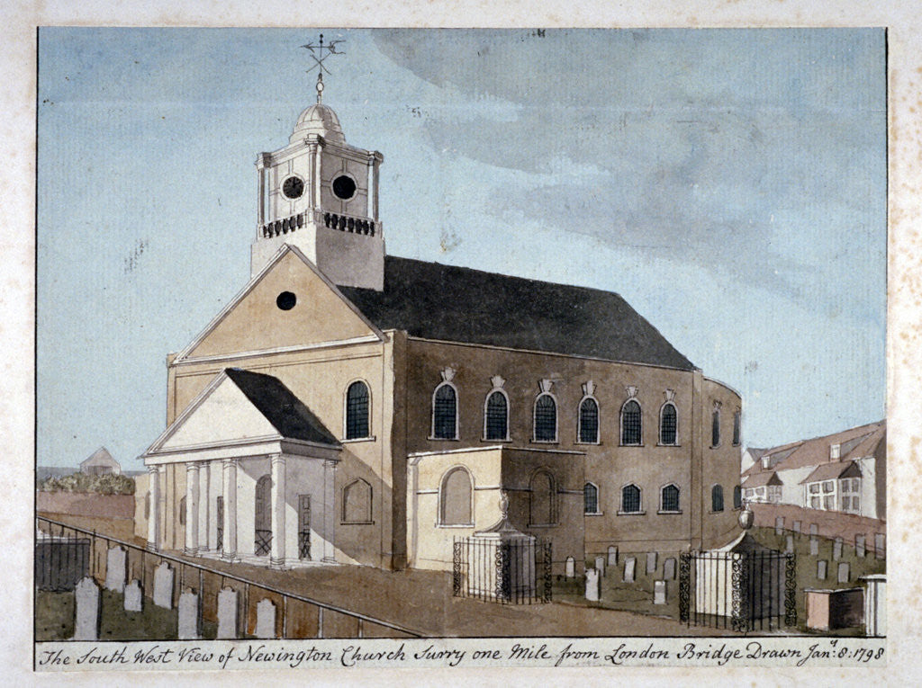 Detail of South-west view of the Church of St Mary Newington, Newington Butts, Southwark, London by Anonymous