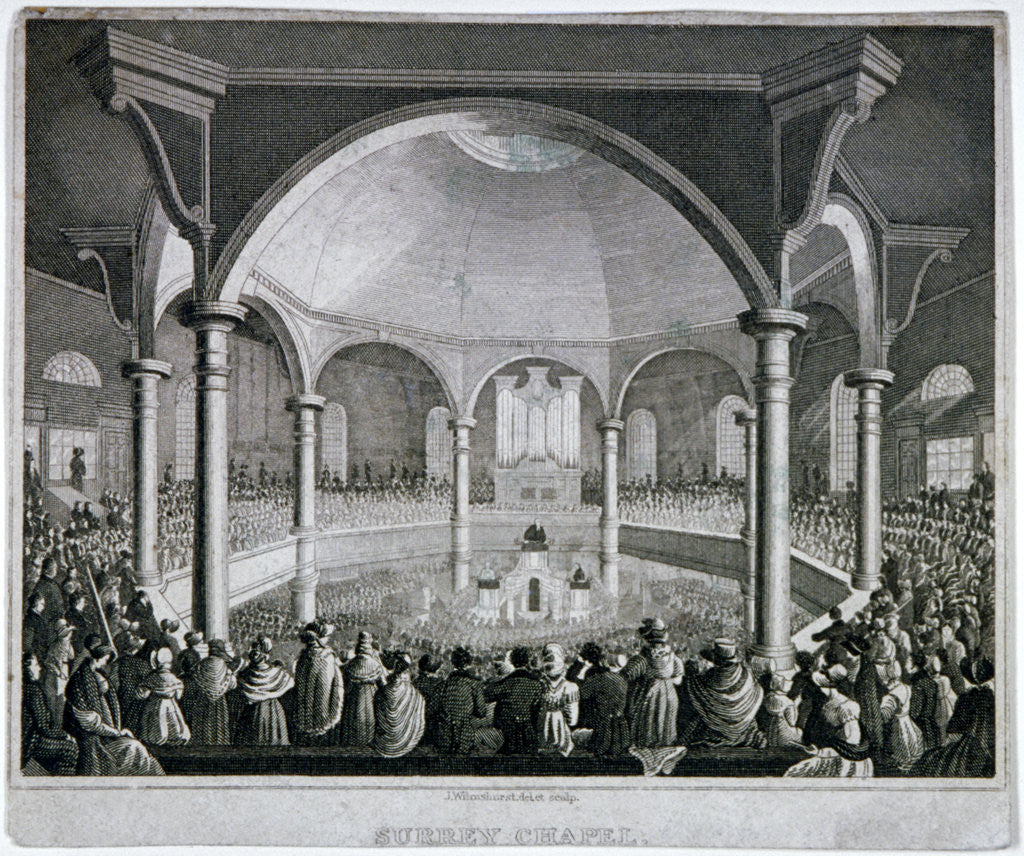Detail of Interior view of Surrey Chapel with a service taking place, Southwark, London by J Wilmshurst