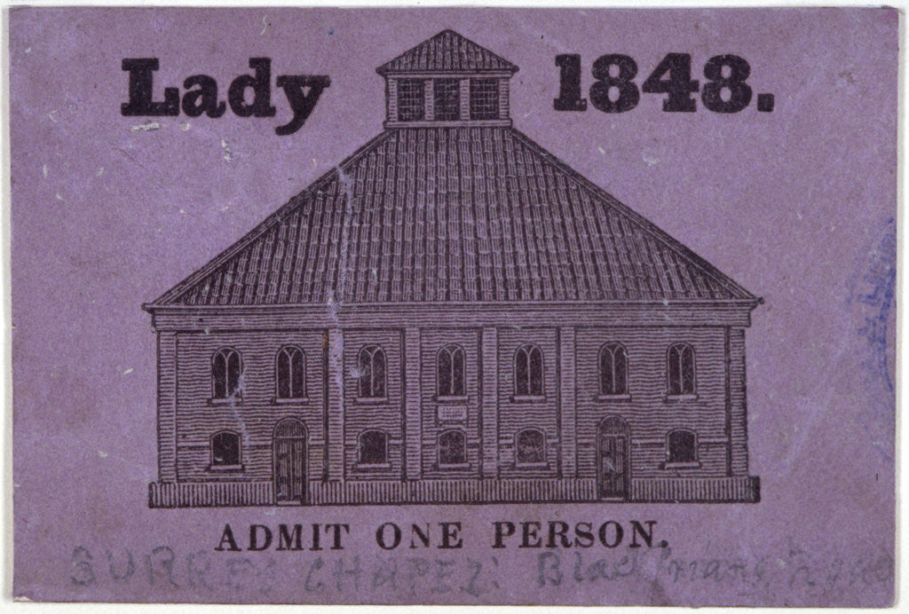 Detail of A ticket of admission for a lady to Surrey Chapel, Blackfriars Road, Southwark, London by Anonymous