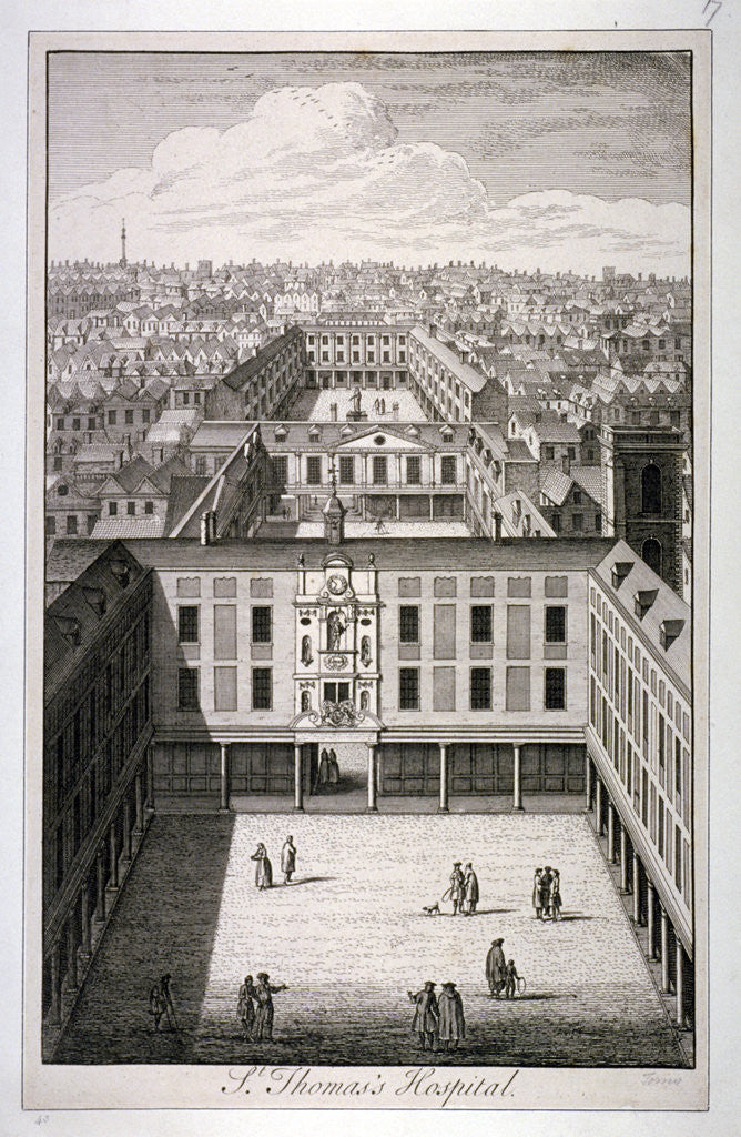 Detail of A bird's-eye view of St Thomas's Hospital in Southwark, London by Toms