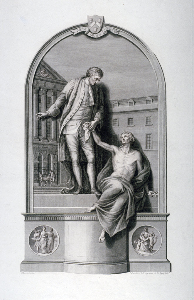 Detail of Monument to Thomas Guy at Guy's Hospital, Southwark, London by Francesco Bartolozzi