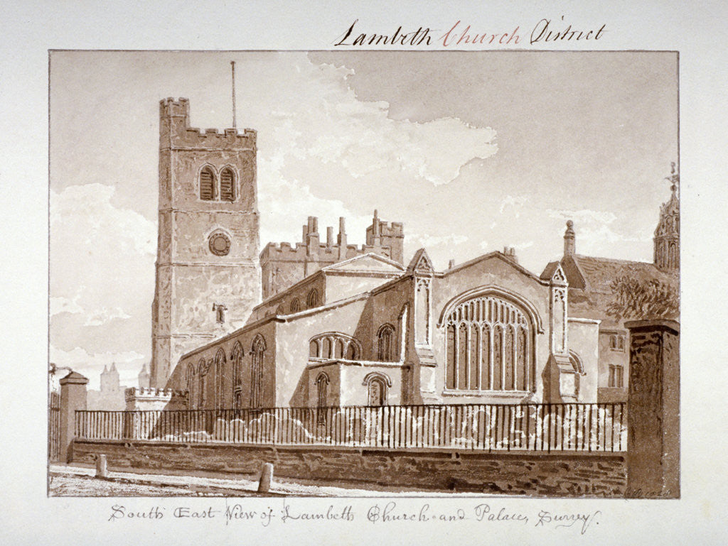 Detail of South-east view of the Church of St Mary, Lambeth, London by John Chessell Buckler