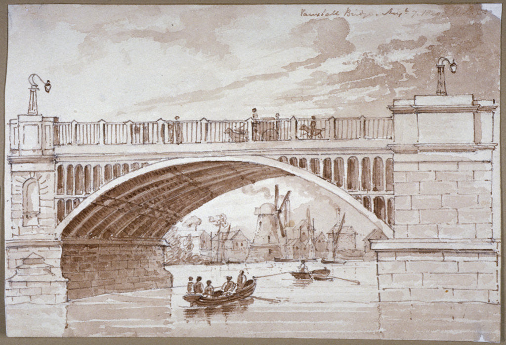 Detail of View of a small boat passing underneath Vauxhall Bridge, London by