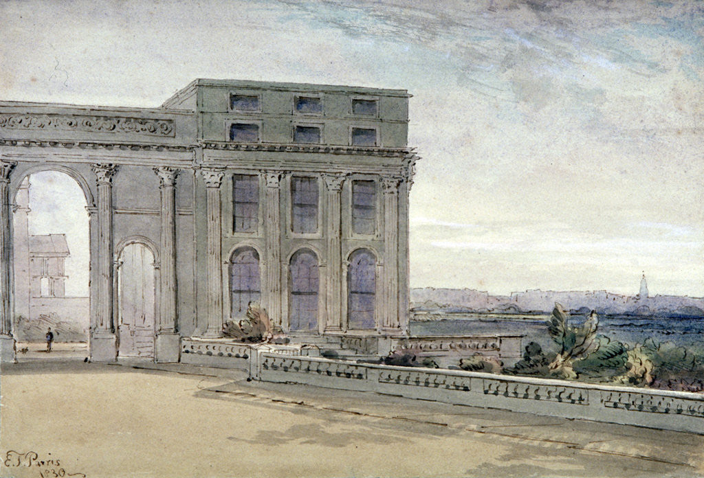 Detail of View of Chester Terrace, Regent's Park, London by Edmund Thomas Parris