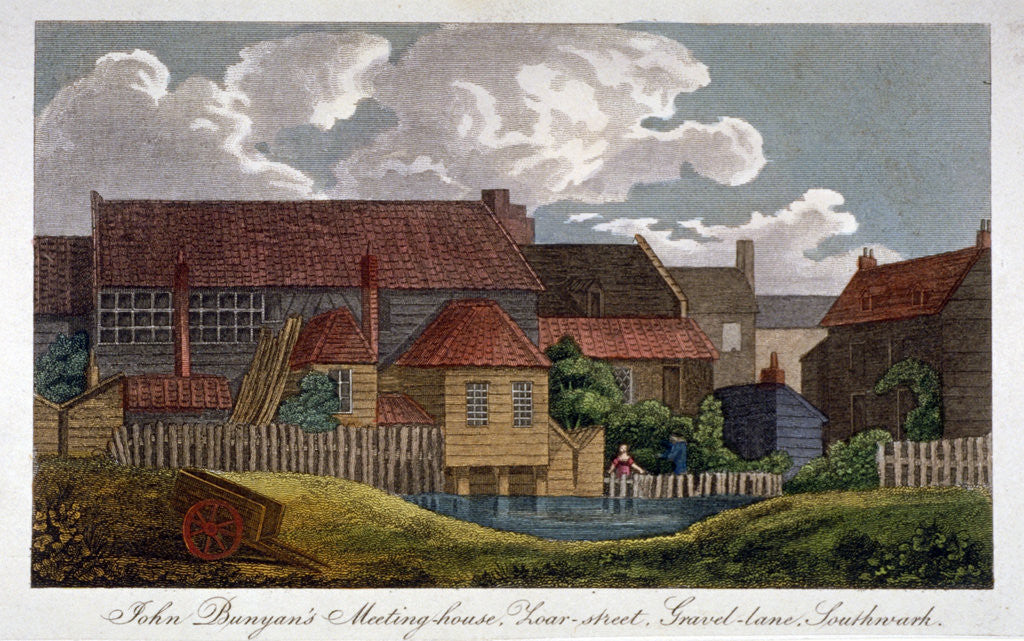 Detail of South-east view of John Bunyan's meeting house, Southwark, London by Anonymous