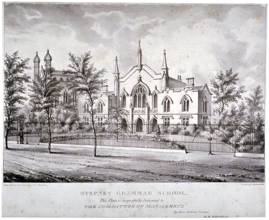 Detail of Stepney Grammar School, Stepney, London by Charles Joseph Hullmandel