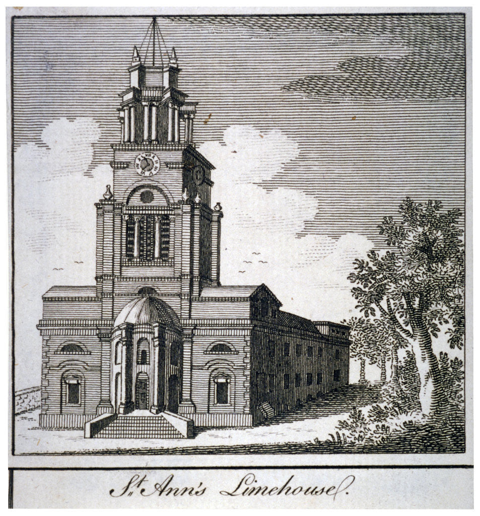 Detail of South-west view of the Church of St Anne, Limehouse, London by Anonymous