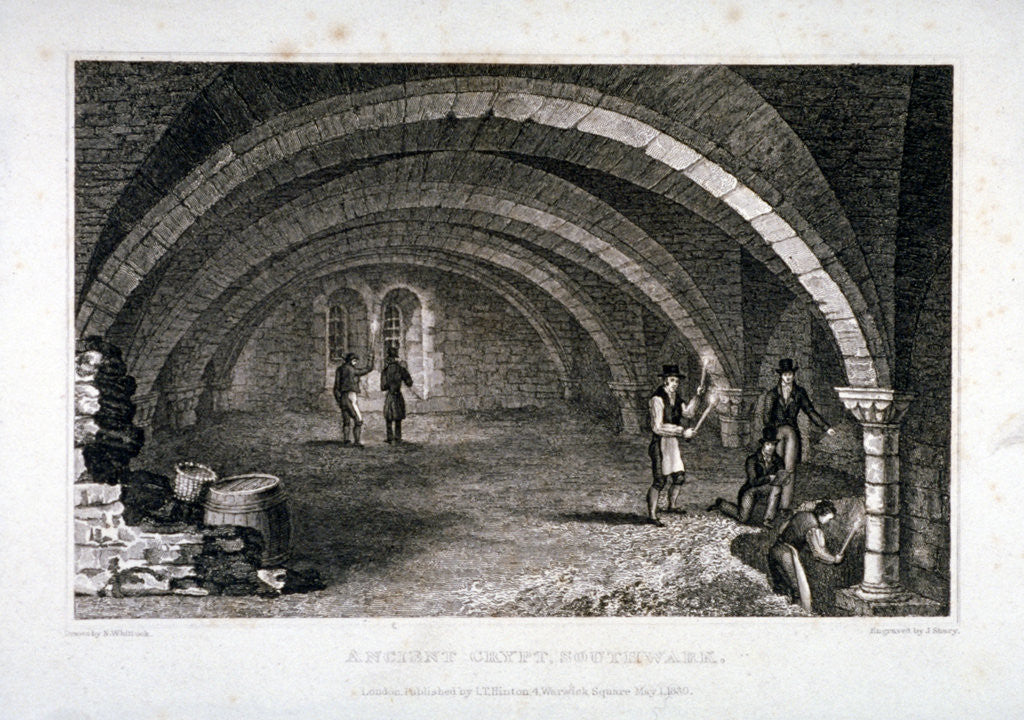 Detail of Interior view of the crypt, St Saviour's Church, Southwark, London by J Shury