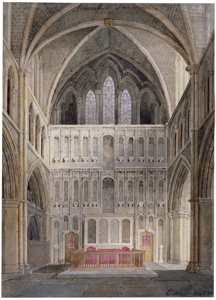Detail of Interior view looking towards the altar, St Saviour's Church, Southwark, London by Edward Hassell