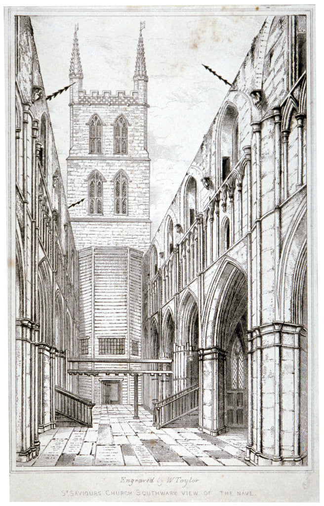 Detail of View of the nave, St Saviour's Church, Southwark, London by W Taylor