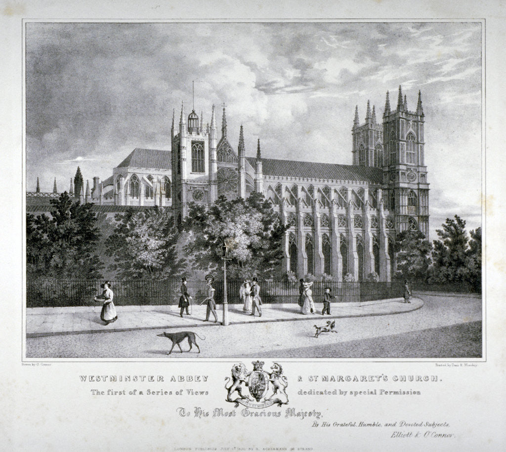 Detail of Westminster Abbey and St Margaret's Church, London by Dean and Munday