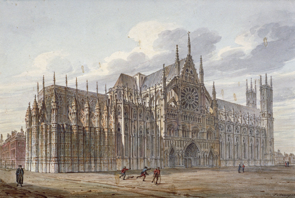 Detail of Westminster Abbey, London by John Coney