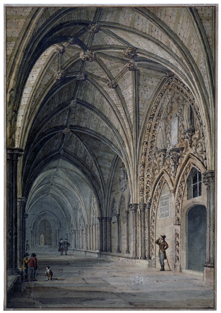 Detail of Interior view of the cloisters in Westminster Abbey, London by John Chessell Buckler