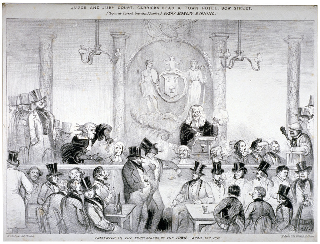 Detail of Interior view of the  'Judge and Jury Court' in the Garrick's Head Tavern, Bow Street, London by W Clerk
