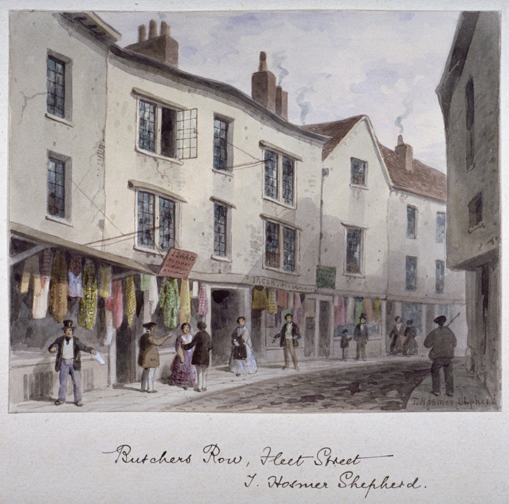 Detail of Probably a view of Holywell Street, Westminster, London by