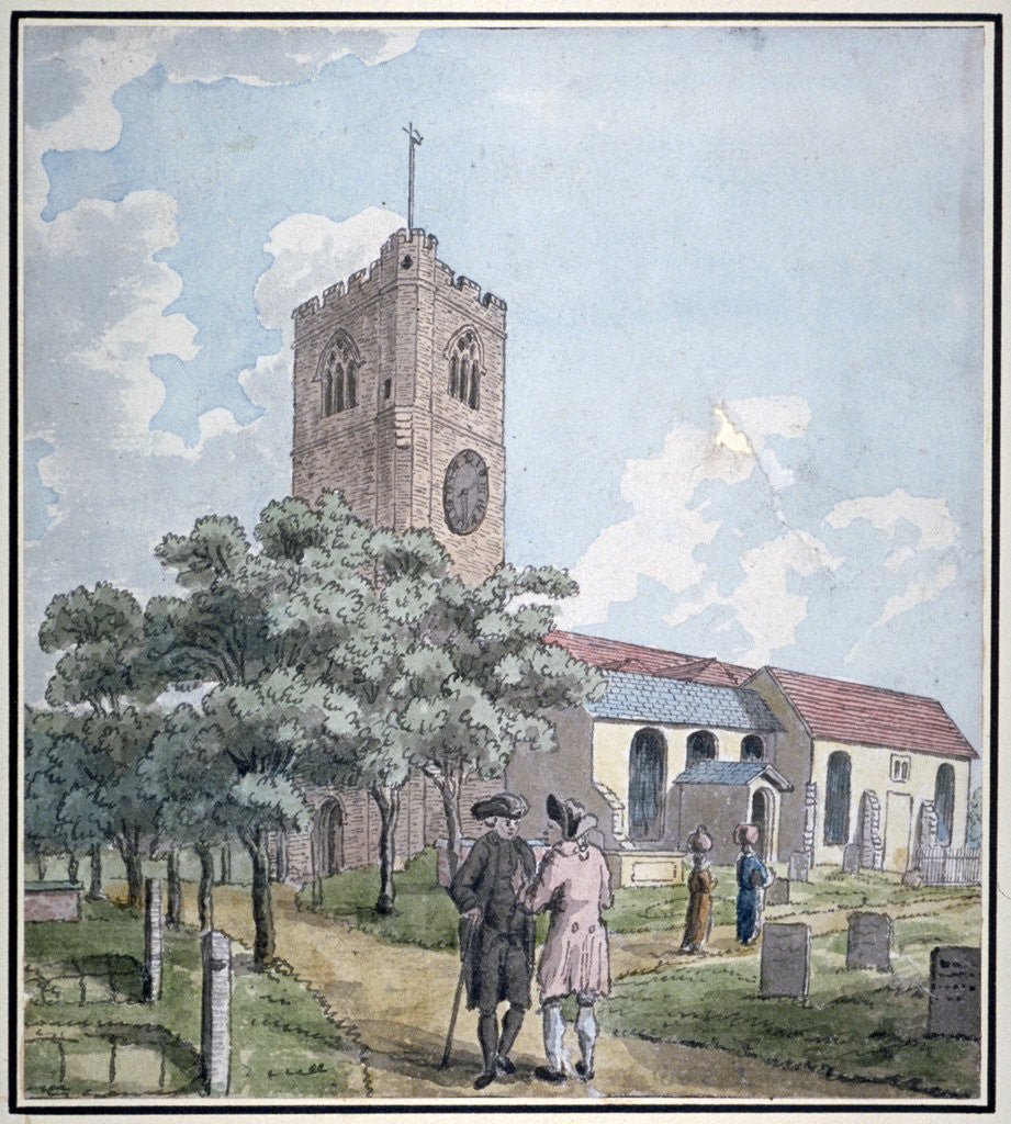 Detail of South-west view of All Saints Church, Fulham, London by