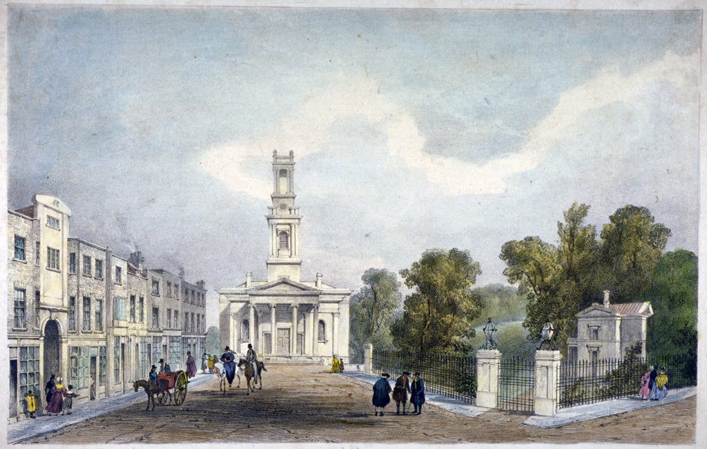 Detail of St Mary's Church and Croom's Hill, Greenwich, London by Anonymous