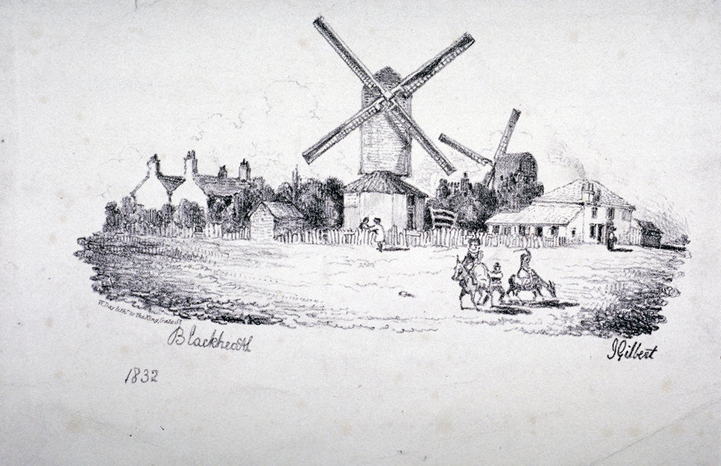 Detail of View of Blackheath, showing windmills and buildings, Greenwich, London by William Day