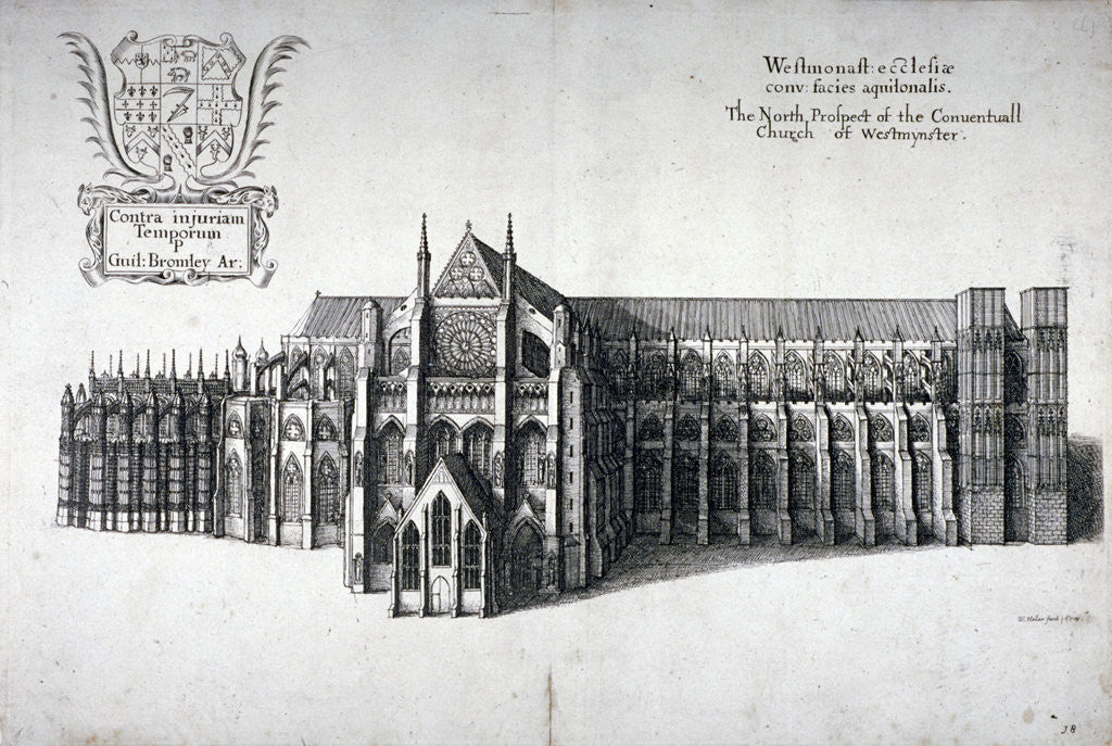Detail of North view of Westminster Abbey, London by Wenceslaus Hollar