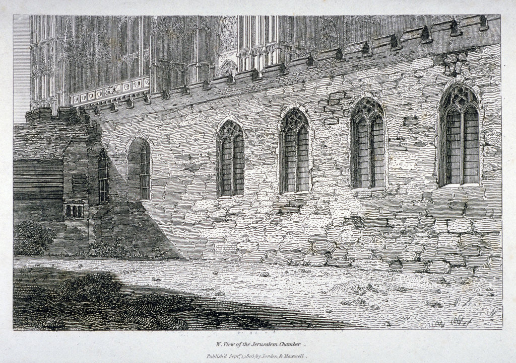 Detail of West view of the Jerusalem Chamber in Westminster Abbey, London by Anonymous