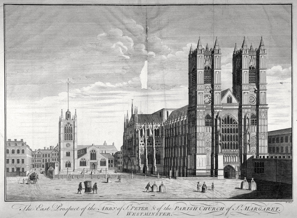 Detail of East view of Westminster Abbey and St Margaret's Church, London by