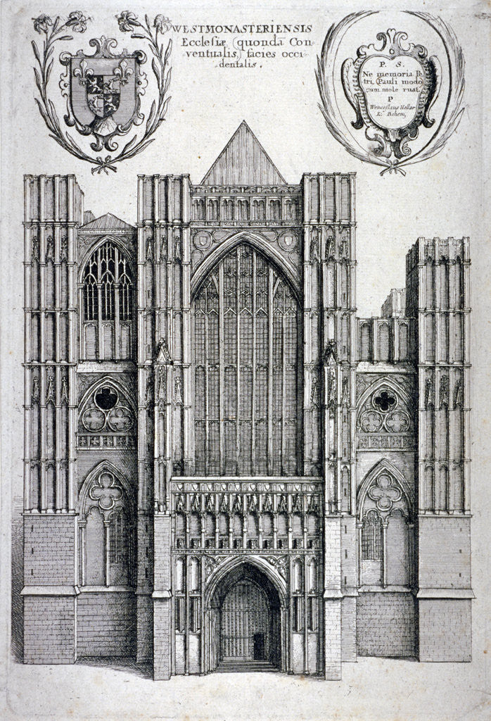 Detail of Westminster Abbey, London by Wenceslaus Hollar