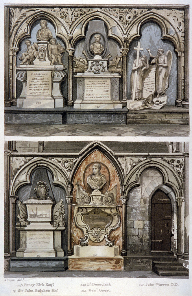 Detail of Monuments in the west aisle of  Westminster Abbey's north transept, London by Augustus Charles Pugin