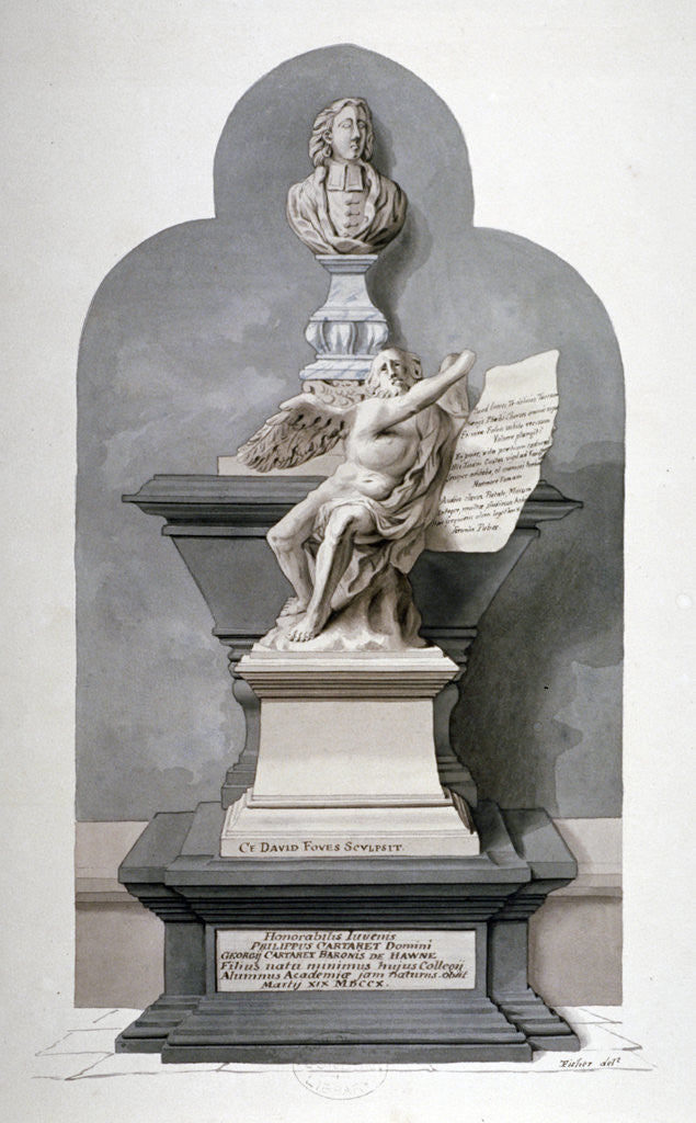Detail of Monument to Philip Carteret in the north nave aisle of Westminster Abbey, London by Fisher